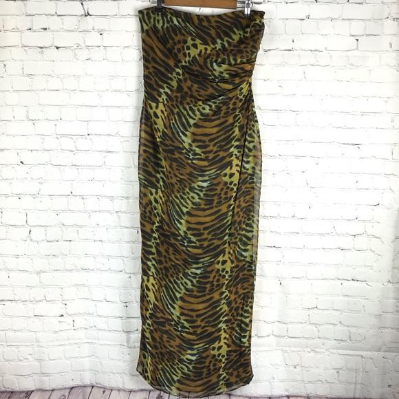 Vintage Dresses & Skirts - Andrea Polizzi Sheer Animal Print Strapless Dress
